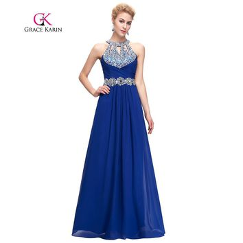 Sequin Prom Dress  Backless Halter Long Formal  Ruched Bodice Red Blue Special Occasion Dresses Grace Karin Prom Gown