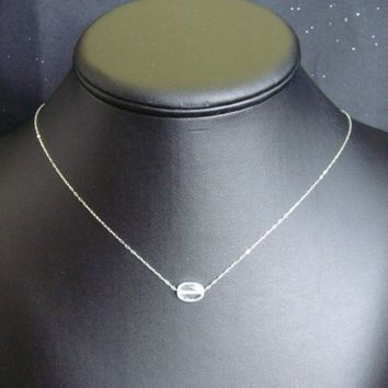 Floating Cubic Zirconia Necklace, Single Bead Chain Necklace, Minimalist Design, Faceted CZ Necklace, Sterling Chain, Simple Crystal Choker