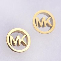 MK Michael Kors Fashion New Round Letter Personality Earring Women Gold