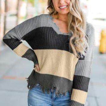 Laila Distressed Color-block Sweater