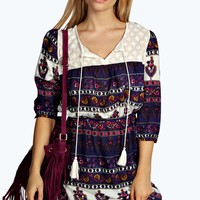 Tammy Printed Crochet Dress