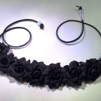 Black Rose Flower Headband, Flower Crown, Flower Halo, Festival Wear, EDC, Coachella, Ultra Music Festival, Rave, Halloween