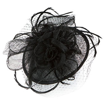 H-2651-06 Rose Petal Feather Sinamay Fascinator w/ Netting - Black