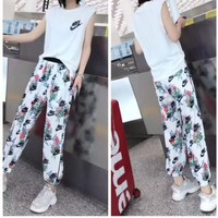 Nike Casual  Pattern  Round Neck  Short Sleeve Edgy Fashion Two-Piece Suit Clothes