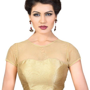 Gold Net Fancy Saree Blouse Choli SNT-X-373-SL-Gold