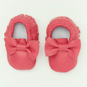 Dark Pink Leather Bow Baby Moccasins