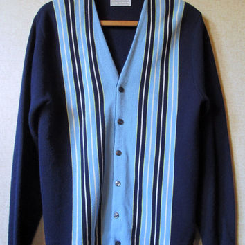 Mad Men Cardigan navy blue golf sweater hipster unisex grunge grandpa vintage 60s 70s striped stripes acrylic sweater men Kings Road Sears