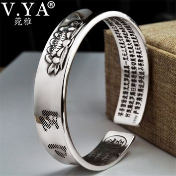 V.YA Solid 999 Sterling Silver Cuff Bracelets Bangles for Women Men Lotus Flower Heart Sutra Thai Silver Jewelry