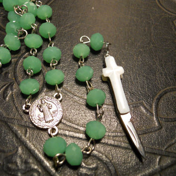 Mint Green and White Secret Knife Cross Rosary by TheCuriositeer