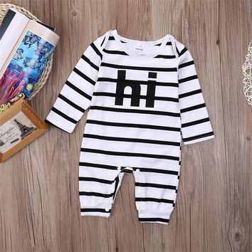 Hot Newborn Baby Girl Boy Clothes Long Sleeve Striped Bodysuit Jumpsuit Playsuit Baby Autumn Cotton Outfits Clothes One Piece