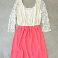 Sweet Confections Dress in Coral [6871] - $38.00 : Feminine, Bohemian, & Vintage Inspired Clothing at Affordable Prices, deloom
