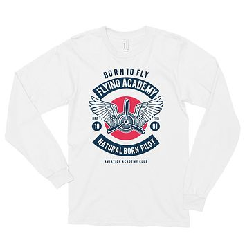Born To Fly Flying Academy Men's Retro Vintage Long Sleeve Shirt