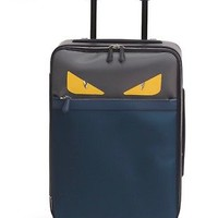 BRAND NEW FENDI Monster Eyes Canvas Leather 20 Trolley Suitcase Blue Gray Yellow