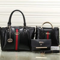 Gucci Women Leather Shoulder Bag Tote Handbag Set Three Piece