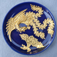 Moriage Elaborate Gold Bird on Blue Plate