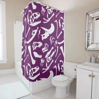 Dinosaur Bones (Purple) Shower Curtain