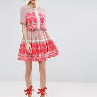 ASOS PREMIUM Double Layer Mini Embroidered Dress at asos.com