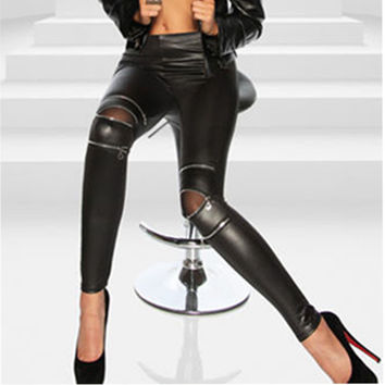 Black Sexy Women Leather Skinny Pants Zipped Leggings Stretch Slim Trousers For Girls Clothing