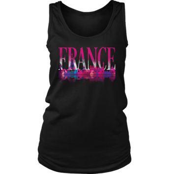 France Skyline Watercolor Horizon Sunset Love Everything French Women's Tank