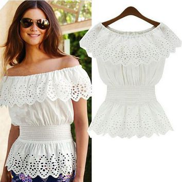 2018 Summer Women Sexy Slash Neck Blouse Top Casual Strap Off Shoulder Lace Ruffles Elastic Waist Tunic Shirts Blusas Femininas