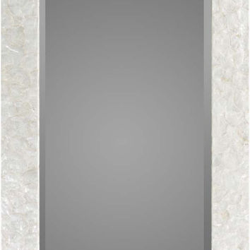 Inlaid Mother of Pearl Whitaker Rectangle Wall Mirror White - Home Decor | Surya