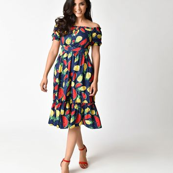 1940s Style Navy Pineapple & Watermelon Print Off Shoulder Dress