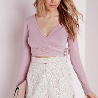 Missguided - Tie Side Long Sleeve Crop Top Mauve