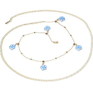 """38"""" Baby Blue Spring Flower Bead Dangle Belly Chain"""