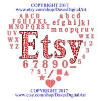 Complete set of heart filled letters, heart letters, Alphabet heart letters, Valentines Day Letters ABC''s filled with hearts
