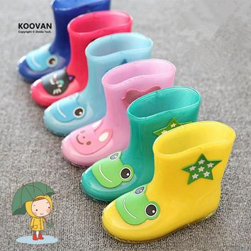 Koovan Children Rain Boots 2017 New Rainning Warm Rainboots Boys Girls Cartoon Children's  Rubber Babys Shoes Toddler Kids Boats