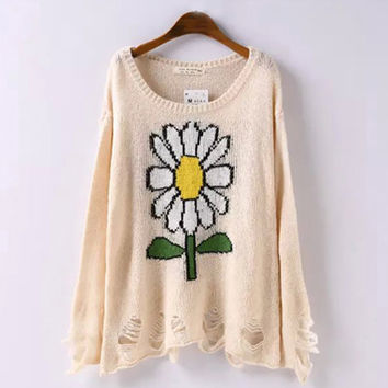Beige Sunflower Print Ripped Hem Loose Sweater