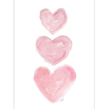 Watercolor Heart 5x7 Print Pink Heart Trio Nursery Decor