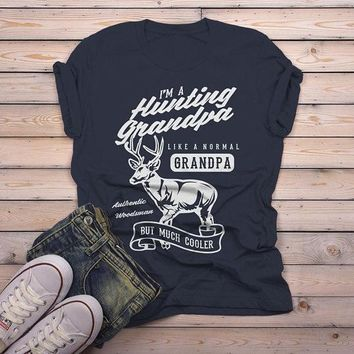 Men's Grandpa T Shirt Hunting Graphic Tee Like Normal Grandpa But Much Cooler Vintage Funny Shirts