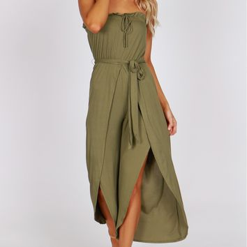 Ribbed Strapless Slit Leg Jumpsuit Olive