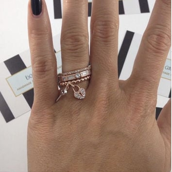 Set of 3 Stack Rings, Heart Lock Ring, Stackable Gold Ring, Heart Ring, Rose Gold Ring, Silver Ring, Heart Ring, Layered Rings
