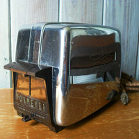 Vintage Dormeyer Electric Toaster 1950's Brown Bakelite and Chrome 2 Slot