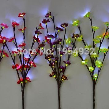 "LED Battery Blossom Plum Branch Light 20"" 20L White LED light up Blossom Branch 7 Colors of Blossom Plum for you to Choice"