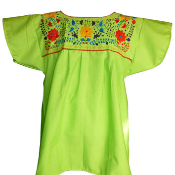 Mexican Blouse Traditional Floral - Lime Green