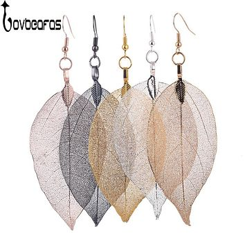 LOVBEAFAS 2017 Fashion Brincos Bohemian Long Earrings Unique Natural Real Leaf Big Earrings For Women Fine Jewelry Gift