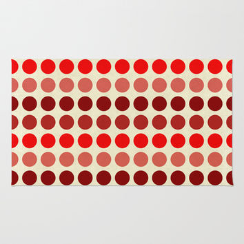 Shades Of Red Polka Dots-Textured Area & Throw Rug by Inspired By Fashion