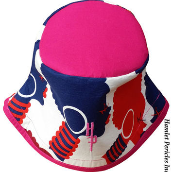 African Queen Fuchsia-top Bucket Hat   Afro   Afrocentric Hat   Natural Hair Hat   African Silhouette   Red Blue Gold Hat by Hamlet Pericles