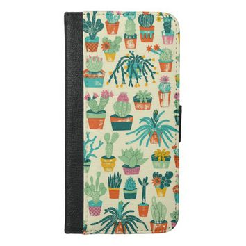 Cactus Flower Pattern iPhone 6 Plus Wallet Case