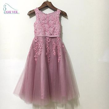 2016 Hot Sale Pink Beaded Lace Appliques Sleeveless Sweet Flower Girl Dresses for Wedding Party Holy Communion Dresses GF99