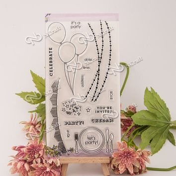 1 Sheet The balloon Transparent Clear Silicone Stamps for DIY Scrapbooking/Card Making/Kids Fun Decoration Supplies Flower