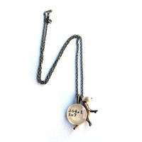 Brass Reclaimed Library Card Pendant Luxe Necklace with Aged Brass Coral Branch Librarian Jewelry