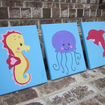 Ocean Paintings - Seahorse, Jellyfish, Dolphin - Wall Decor Art for Nursery, Kids Room - Bathroom Wall Art