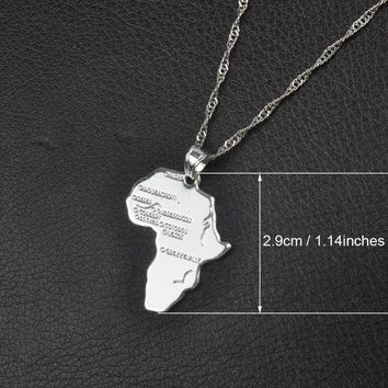 Comes in 9 Styles Africa Map Pendant Necklace for Women/Men Silver/Gold Color Ethiopian