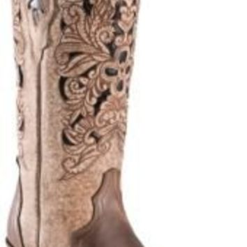 Corral Ladies Brown Floral Tool w/ Black Inlay Pointed Toe Western Boots | Cavender's Boot City