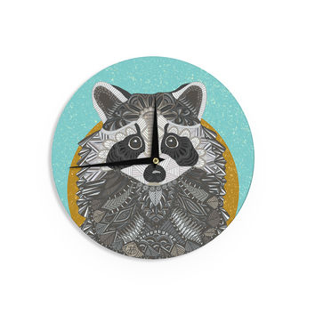 "Art Love Passion ""Racoon in Grass"" Gray Teal Wall Clock"