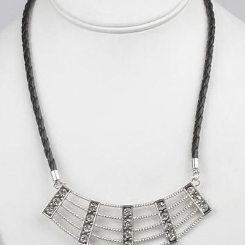 Crystal Inset Textured Metal Bib Necklace